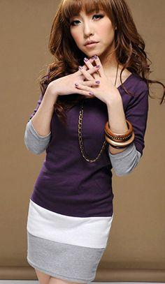 Korean Slim long-sleeved dress very pretty dress!