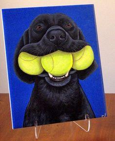 Black Labrador Retriever with Tennis Balls by by carolscanvas, $29.99