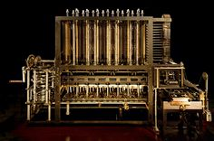 A re-construction of Charles Babbage's difference engine, an early mechanical computer, has been captured in precise detail using gigapixel imagery. Babbage, who essentially invented the mechanical. Alter Computer, Computer Lab, Computer Technology, Computer Science, Mechanical Computer, Steampunk Coffee, Mechanical Calculator, Steampunk Furniture, Old Computers