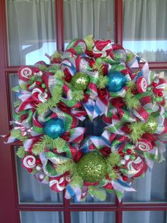 Christmas lime green blue and red deco mesh door by CrazyboutDeco, $89.00