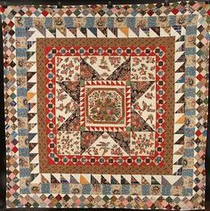 IRISH BRODERIE PERSE MEDALLION & FRAME QUILT, 1850 - Wonderful medallion example; use for class reproduction - mini quilt or liberated medallions.