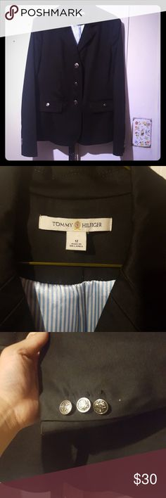 Tommy Hilfiger blazer Tommy Hilfiger classic blue blazer. Missing one button in the left arm Tommy Hilfiger Jackets & Coats