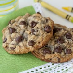 Chewy Chocolate-Chip Oatmeal Cookies.   Recipe At   http://family.go.com/food/recipe-651076-chewy-chocolate-chip-oatmeal-cookies-t/