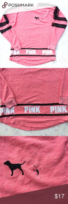 {PINK by VS} Pink and Black Mesh Long Sleeve Shirt Cool PINK by Victoria's Secret pink and white long sleeve t-shirt with black mesh detailing. There are several black stains on it that will not come out even though I have washed this several times. This is why I will accept just about any offer anyone makes. Size XS but will fit a Small as well as a medium! PINK Victoria's Secret Tops Tees - Long Sleeve