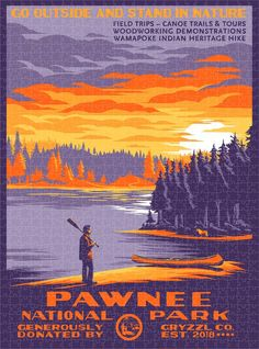 Pawnee National Park (Variant) - 1000pc Puzzle Poster Parks N Rec, Go Outside, Canoe, National Parks, Hiking, Puzzle, Tours, Nature, Artwork