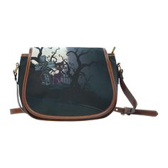 Cemetery Saddle /Large (Model thanks to the customer! sold at Large Bags, Vintage Halloween, Cemetery, Saddle Bags, Cats, Model, Gatos, Big Bags, Molle Pouches