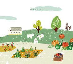 slope, incline, hill, farm, plantation, farmer, peasant, tenant farmer, illust, illustration, harvest pumpkin, aronia farm, yebin illust, charming, cute, pretty, 문예빈 일러스트 Mountain Illustration, Children's Book Illustration, Digital Illustration, Map Design, Book Design, Cartoon Painting, Illustrations And Posters, Layout, Doodle Art
