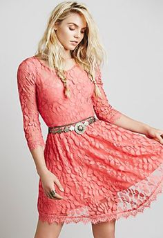 Desert Flower Floral Mesh Lace Dress | Free People