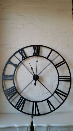 London Large Round Wrought Iron Urban Chic Black Wall Clock