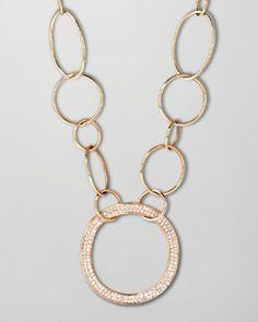 J5928 Ippolita Stardust 18k Gold Pave Diamond Hollow-Pendant Chain Necklace