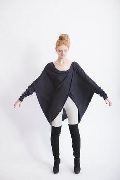 Pull noir, pull Loose, enveloppement pull, haut à manches chauve-souris, drapé femmes vêtements, dessus de la taille.