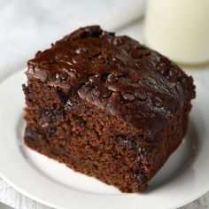 Double Chocolate Zucchini Cake made with half the oil. It's so moist, no one will miss it!