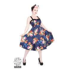 H&R London Navy Floral Long Dress Rockabilly Pinup Vintage Hearts and Roses Pin Up Dresses, Prom Party Dresses, Rockabilly, Punk Prom, Floral Vintage, Vintage Style, Retro Vintage, Vintage Rosen, Hearts And Roses