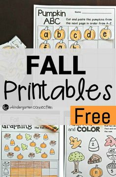 Free fall math and ABC activities for preschool or kindergarten.