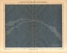 1890 Star Chart Constellations Fixed Stars of the Northern