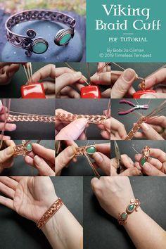 Wire Wrap Tutorial - Viking Braid Cuff Bracelet - By Bobi Jo Gilman - Geschenke . - Wire Wrap Tutorial – Viking Braid Cuff Bracelet – By Bobi Jo Gilman – Geschenke – - Wire Jewelry Designs, Handmade Wire Jewelry, Jewelry Crafts, Diy Jewelry To Sell, Make Your Own Jewelry, Handmade Bracelets, Bijoux Wire Wrap, Wire Wrapped Bracelet, Braided Bracelets