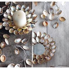 Roost Abalone Shell Candle Plate & Garland. Layered abalone shells create rainbows of silvery pastels on our trees, wreaths, and candle plates.