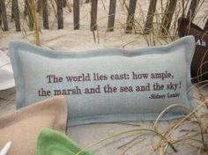 """""""Tailor Your Babble"""" Custom Seaworthy Lumbar Pillows. Quote: The World Lies East. The Seaworthy Collection is handsomely hand tailored in the Carolinas of high quality jute burlap. @CottageCoastal"""
