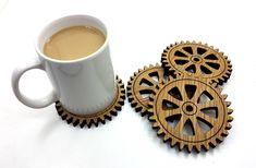 Oak Gear Cog Coasters, set of 4.