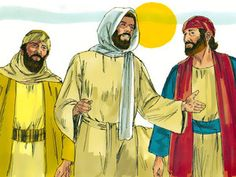 Free Bible images: Free Bible illustrations at Free Bible images of Jesus appearing to two disciples as they travel on the road to Emmaus, then His appearance to the disciples in a locked room. Bible Story Crafts, Bible Stories, Free Bible Images, Road To Emmaus, Luke 24, Bible Illustrations, Christian Crafts, Jesus Resurrection, Sunday School Crafts