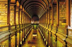 Focus on a college library known as The Long Room. This magnificent library belongs to the Trinity College, in Dublin. It's the largest library in Ireland Dublin Library, College Library, College Fun, Library University, City College, University College, Library Books, Trinity Library, Vatican City