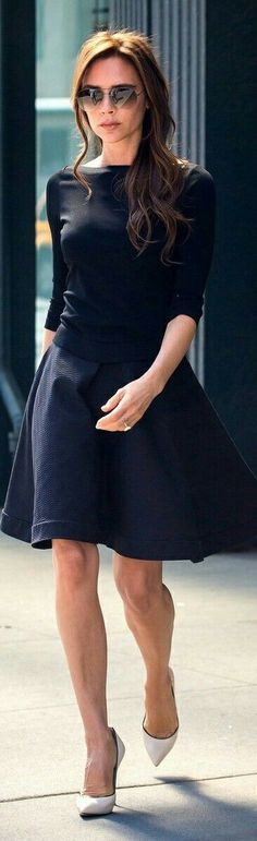 VB's Black Sweater & flare Skirt.