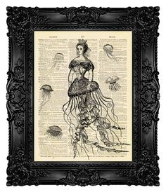 Mermaid Print Mermaid Art Print Vintage Book Page Print Dictionary Art Print Home Decor Nautical Decor Gift for Her Jellyfish Queen 206 on Etsy, $18.00