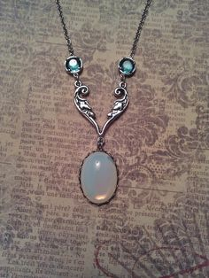 Vintage White Opal Moonstone Glass with Floral Leaf by JujusCrafts, $27.00