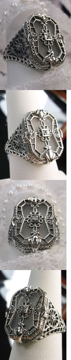 Other Fine Rings 177030: Camphor Glass Solid Sterling Silver 1930S Art Deco Design Filigree Ring Size 6 -> BUY IT NOW ONLY: $52 on eBay!