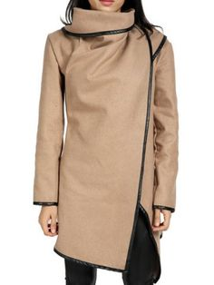 Stylish Long Sleeves Solid Color Asymmetric Wool Coat For WomenCoats | RoseGal.com
