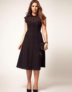 black button-up sweetheart dress  #plus #size #fashion #dress #sweetheart