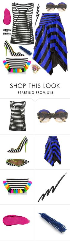 """""""It's all about the STRIPES #6"""" by juliedebbas ❤ liked on Polyvore featuring Philipp Plein, Gucci, Dsquared2, Proenza Schouler, JADEtribe, Stila, Dr.Hauschka, stripesonstripes and PatternChallenge"""