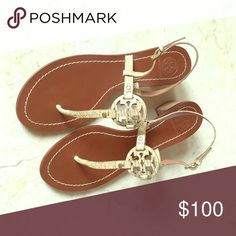 4edefad96035d2 Tory Burch embossed logo sandals cream and brown embossed leather sandals  with covered heels and buckle