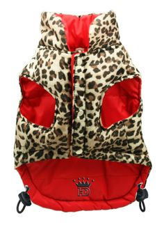 RED REVERSIBLE LEOPARD PRINT DOG PUFFER JACKET