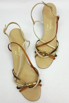 Vintage Amalfi shoes 8 N delicate strappy sandals gold tan and white low heel #Johansen #Heels