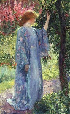 Japonisme. Guy Rose (1867-1925) Blue Kimono