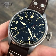 This just in: IWC Schaffhausen #IW501004 The Big Pilot's Watch Heritage is inspired by the design of the iconic Big Pilot's Watch Calibre 52 T.S.C. Thanks to this, the timepiece with an impressive diameter of 46 millimetres features a striking retro look. The case is made from durable and light Titanium and weighs less than 150 grams. As on the famous original model, the chapter ring, the Arabic numerals and propeller-like hands are all beige. A soft-iron inner case protects the movement...