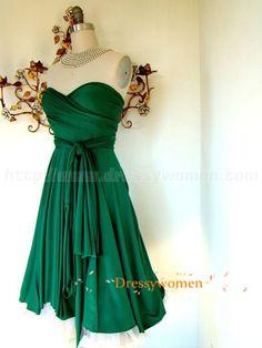 2015 Elegant Emerald Chiffon Sweetheart Sleeveless Short Bridesmaid Dresses / Wedding Party Dresses CHPD-90074