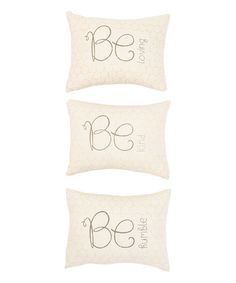 Look at this #zulilyfind! 'Be Loving' Honeycomb Square Pillow - Set of Three #zulilyfinds