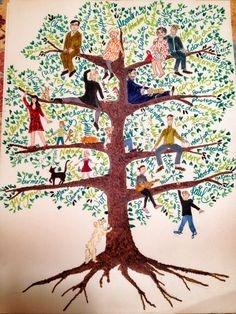Family tree--love the words and names flowing through the tree!