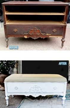 Repurposed dresser into bench. I love that it still has a drawer. Would be great at the foot of bed to store blankets in.