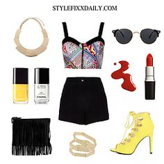 OUTFIT OF THE DAY: AZTEC  PRINT BRALET, BLACK SHORTS & YELLOW LACE UP HEELS