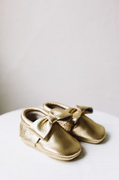 Baby Moccasins, Gold Bow