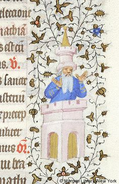 Man, orant, emerging from top of building, wearing turret as hat | Book of Hours | France, Paris | ca. 1420-1425 | The Morgan Library & Museum