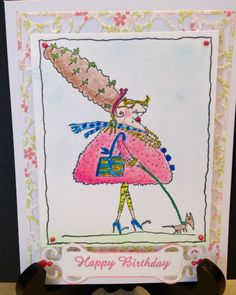 Art Impressions Girlfriends stamp with Smooch Pearlized Accent Ink, Spellbinders Fancy Tags die, Liquid Pearls