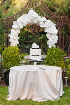 Paper Flower Floral Arch Wedding Cake Table Backdrop | Amanda K Photography | See More: http://heyweddinglady.com/love-bloom-gorgeous-paper-flower-ideas-wedding/