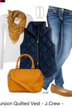 Very Cute Fall Outfit. This Would Look Good Paired With Any Shoes. 25 Great Fashion Trends To Rock Your Summer Style – Very Cute Fall Outfit. This Would Look Good Paired With Any Shoes. Mode Outfits, Casual Outfits, Fashion Outfits, Womens Fashion, Fashion Trends, Ladies Fashion, Vest Outfits, Navy Vest Outfit, Jackets Fashion
