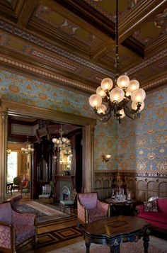Rynerson OBrien Architecture, Inc.: The McDonald Mansion's Formal Rooms.  Look at the ornate wainscoating and the inlaid hardwood floors!  Also, that painted ceiling with the panels... holy cow!