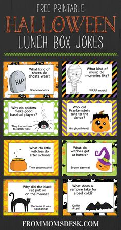 Halloween Jokes for Kids – Printable Lunch Box Notes