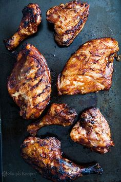 Barbecued Chicken on the Grill ~ how to get low and slow BBQ chicken on your grill, perfect for a summer cookout, on SimplyRecipes.com